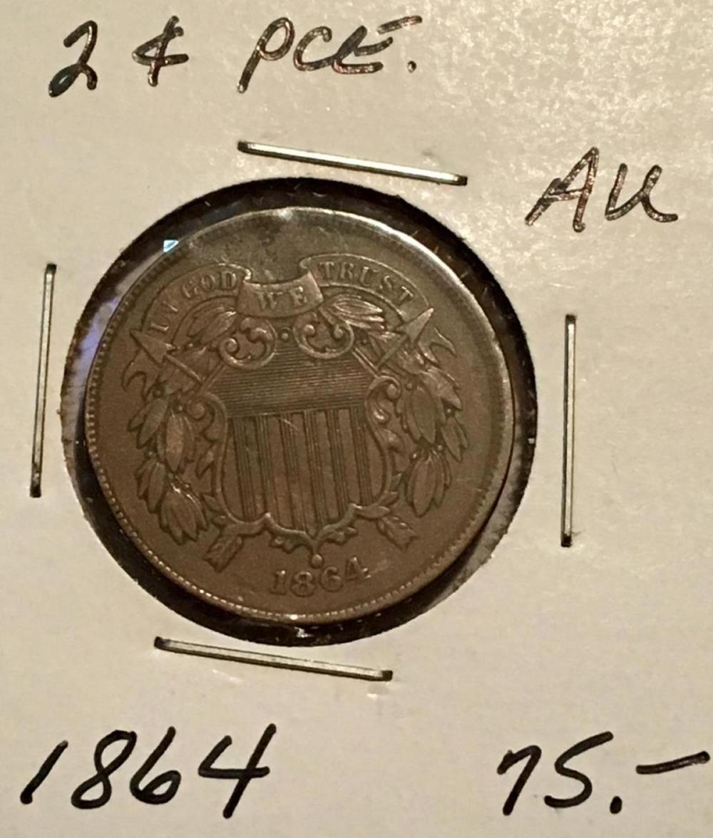 1864 US 2c (Large Motto) KEY DATE 2-Cent Piece AU