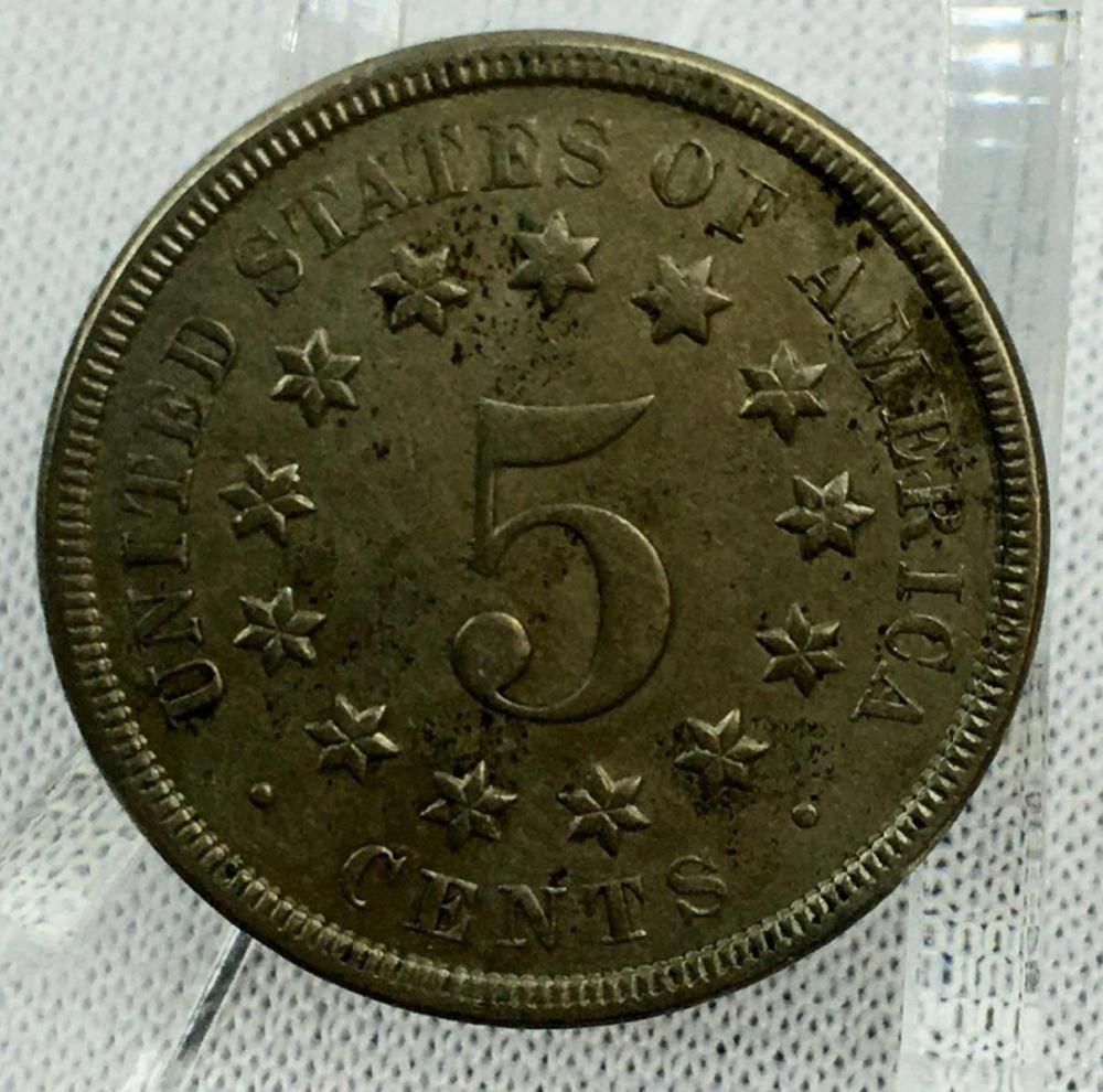 1866 US 5c Shield Nickel AU50