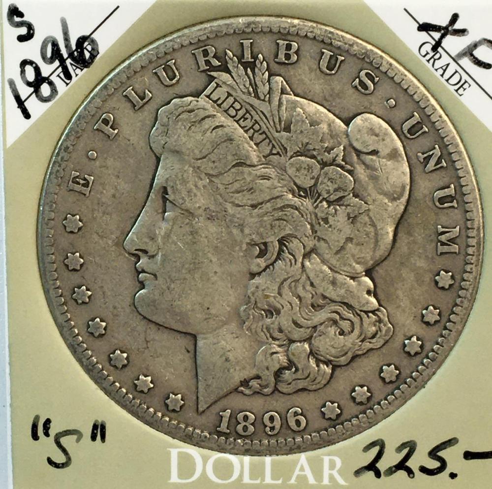 1896-S US $1 Morgan Silver Dollar w/ Case