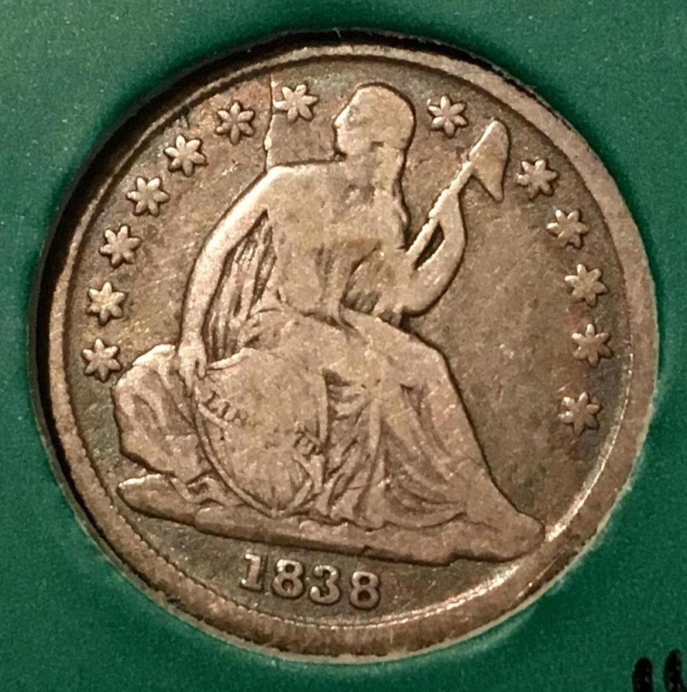 1838 US 10c Seated Liberty Silver Dime w/ CRACKED DIE