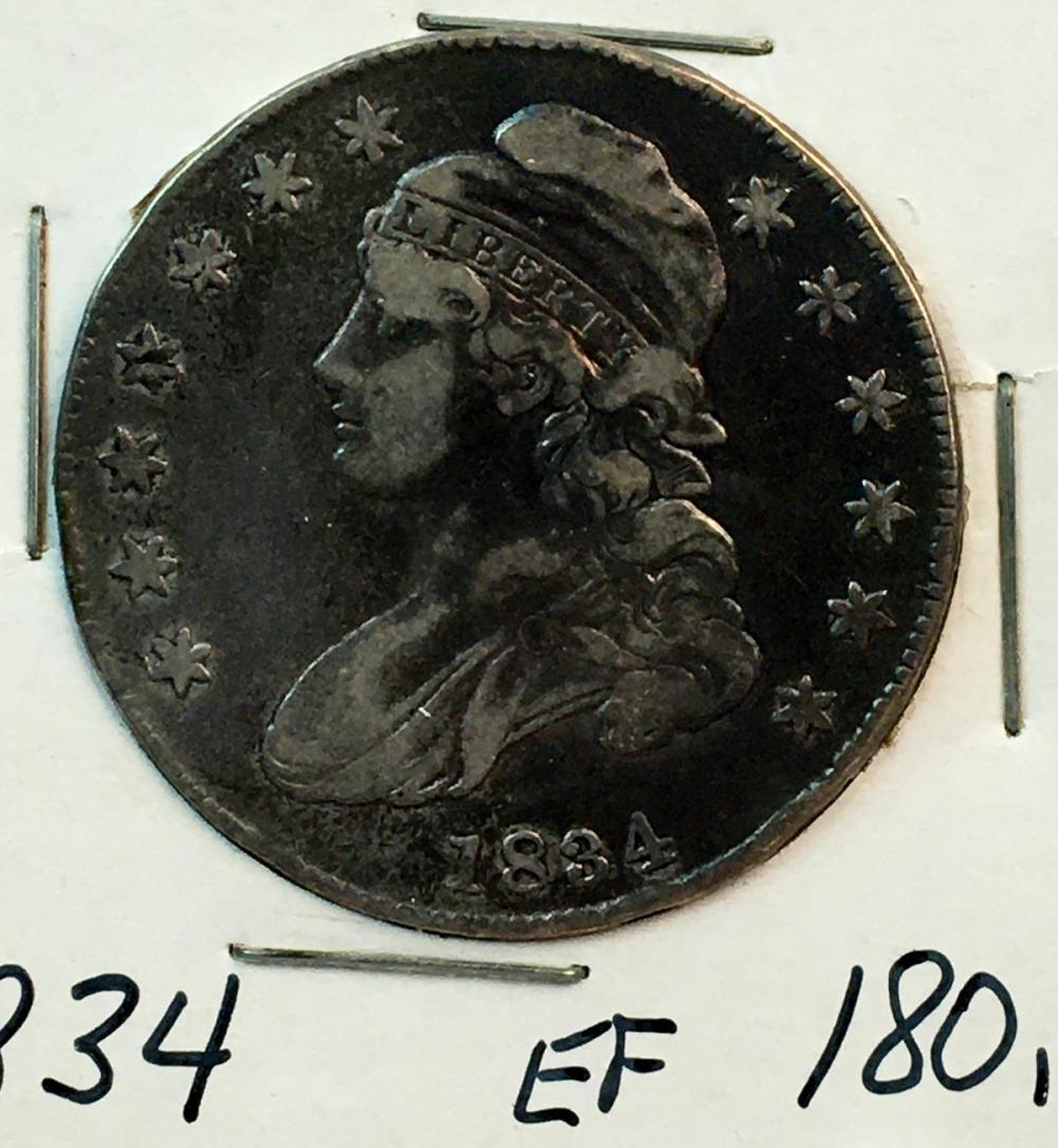 1834 US 50c Capped Bust Silver Half Dollar