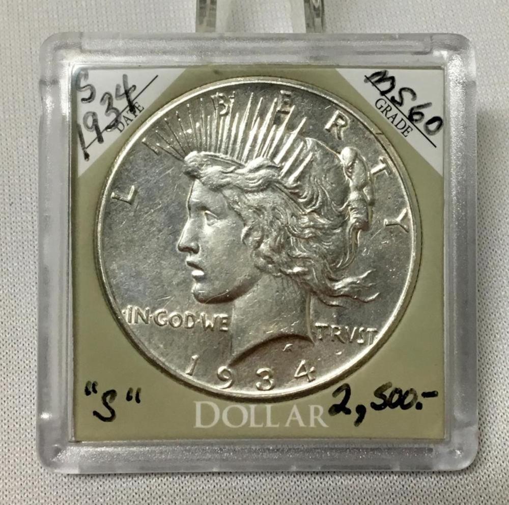 1934-S US $1 Peace Dollar w/ Case MS60