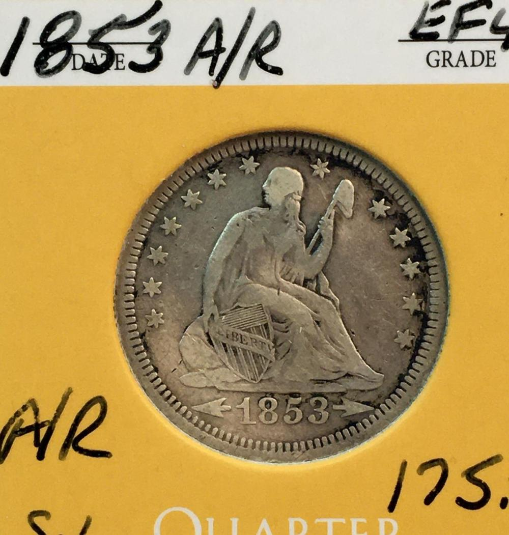 1853 US 25c Seated Liberty Silver Quarter Dollar w/ Arrows & Rays
