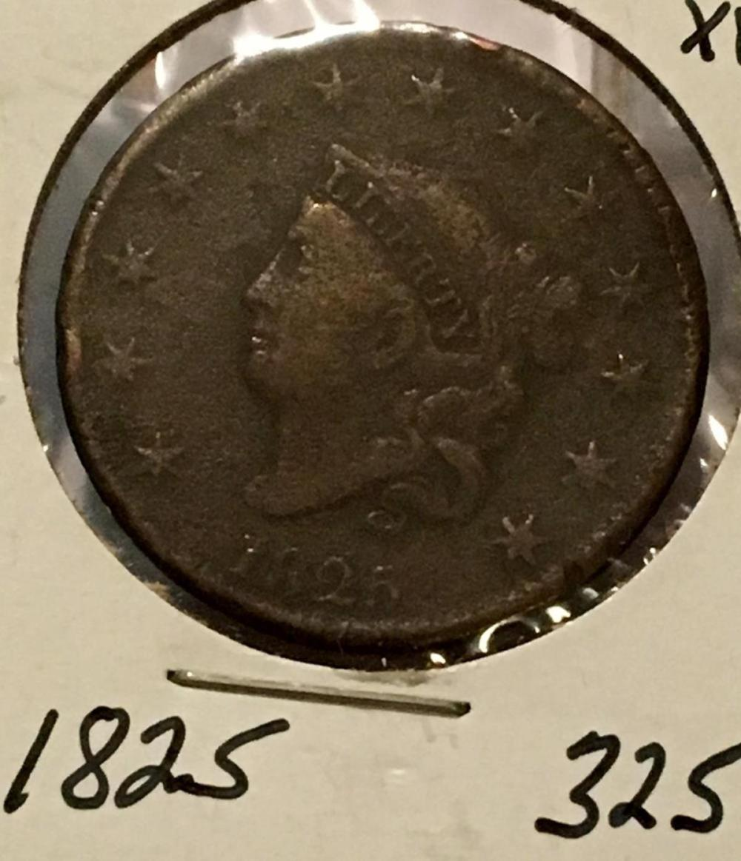 1825 US 1c Matron Or Coronet Head Large Cent