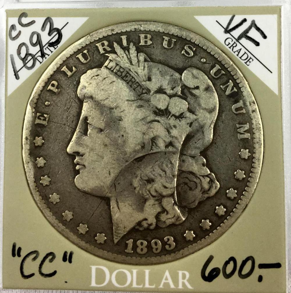 1893-CC US $1 Morgan Silver Dollar W/ Case