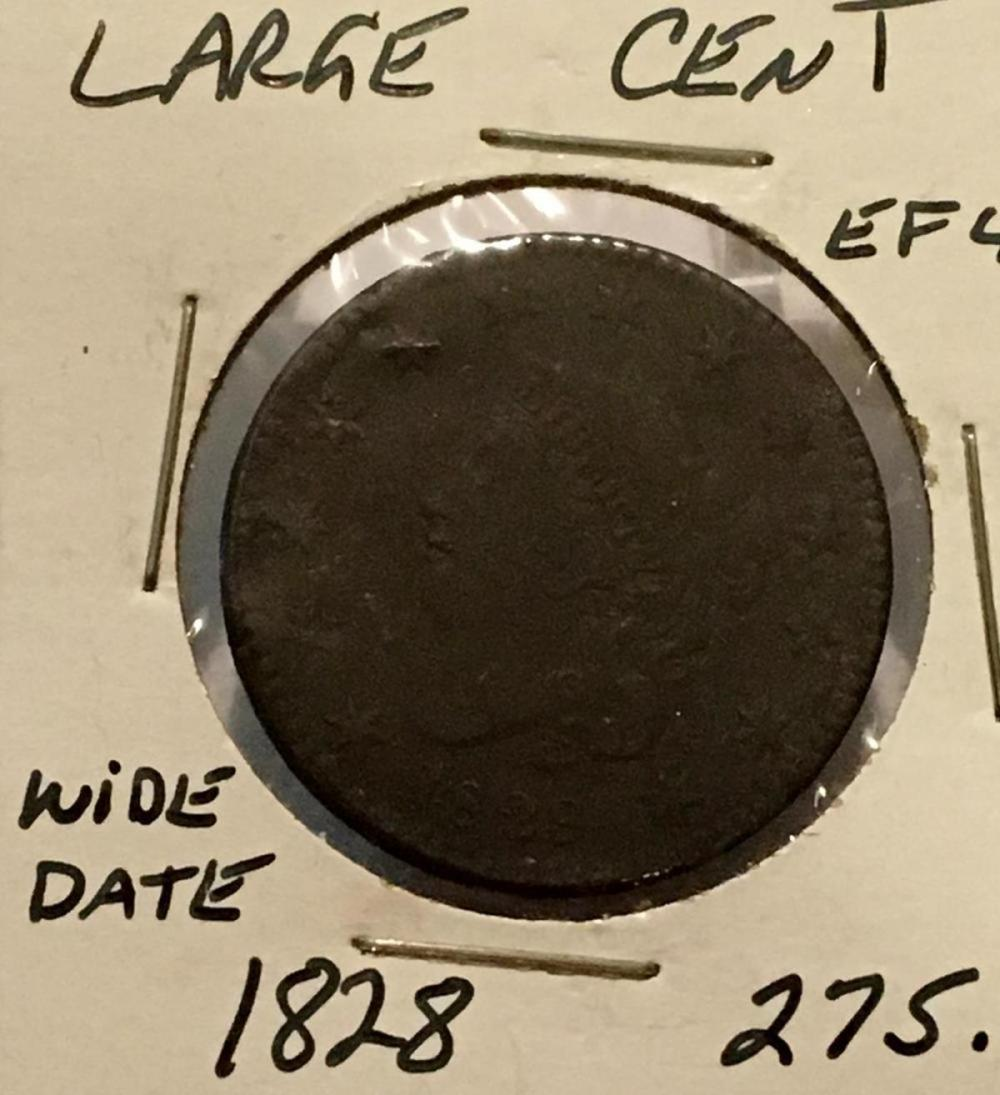 1828 US 1c Coronet Head Large Cent Wide Date