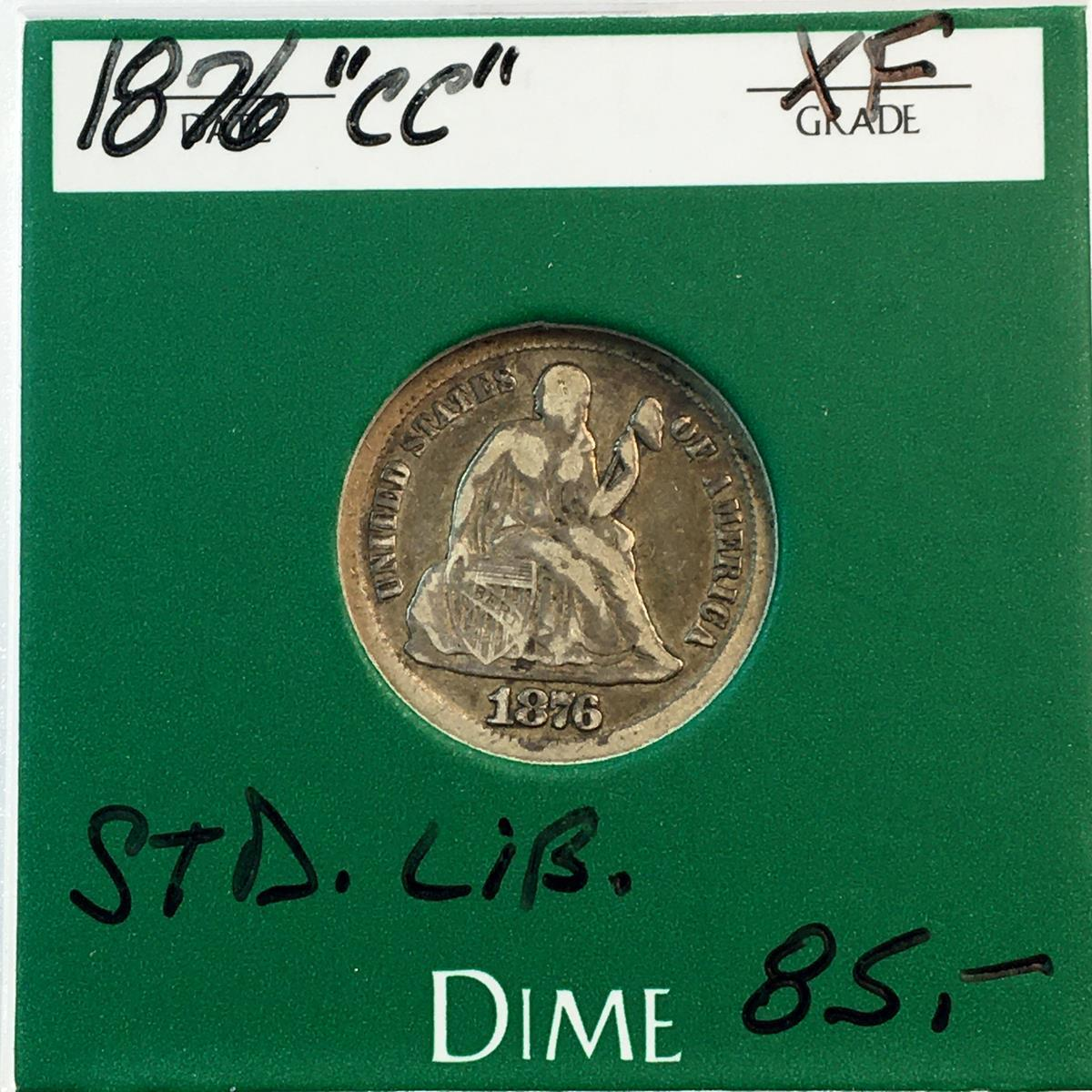 1876-CC US 10c Seated Liberty Silver Dime w/ Case