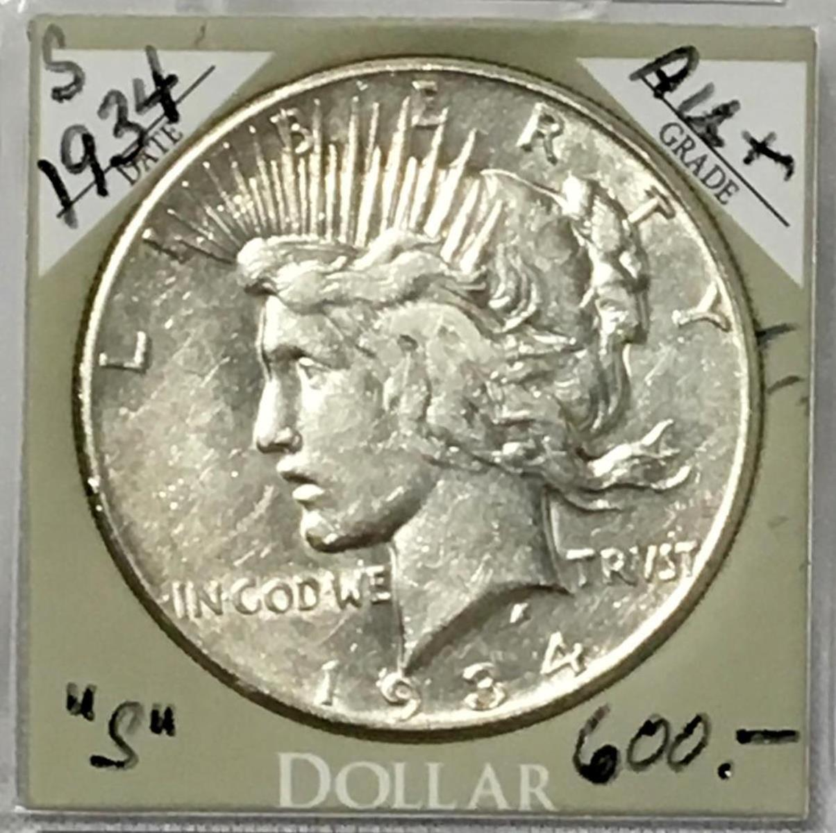 1934-S US $1 Peace Silver Dollar AU+ W/ Case KEY DATE