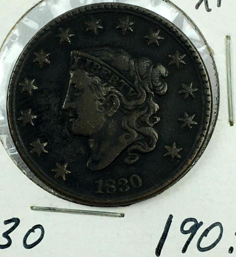 1830 US 1c Coronet Liberty Head Large Cent (Medium Letters) XF+
