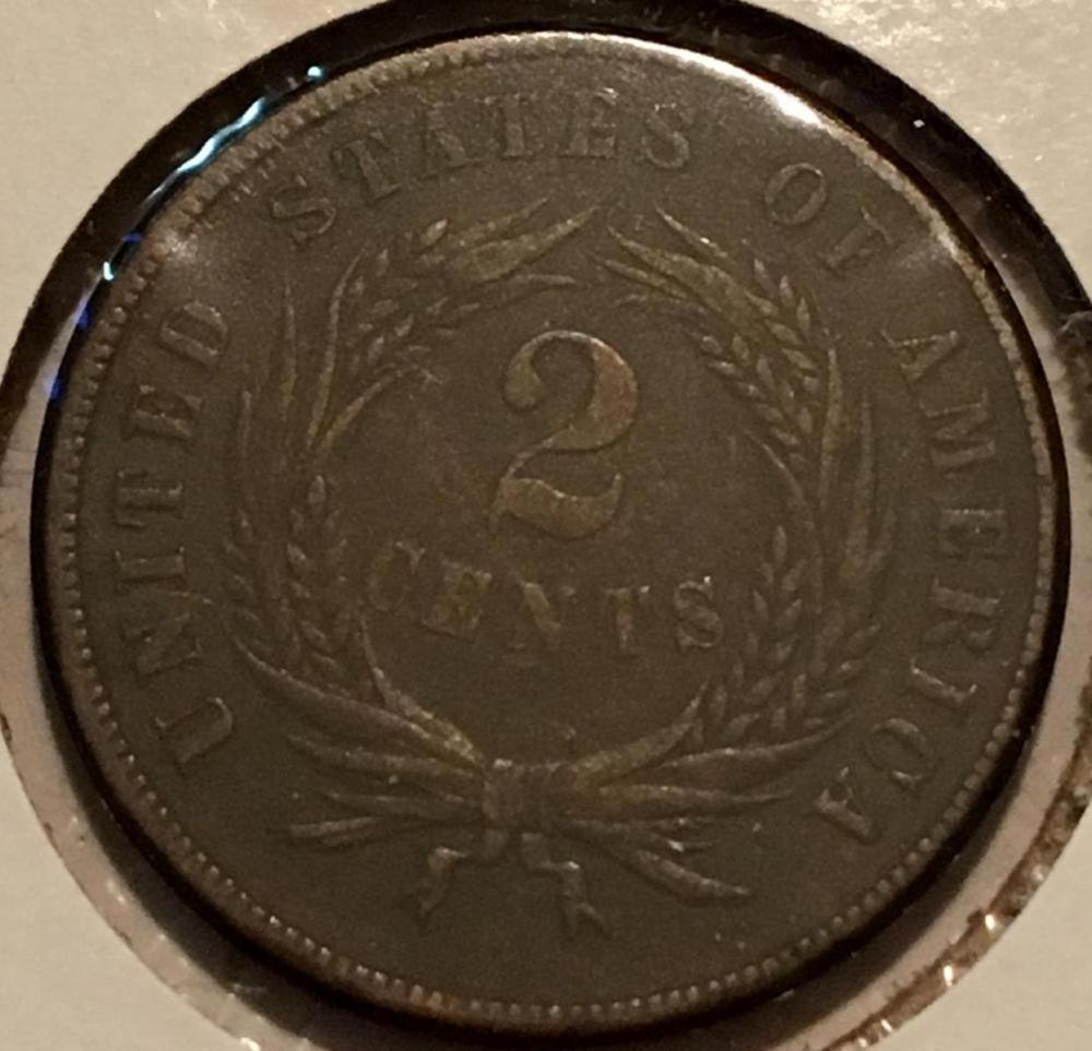 1866 US 2-Cent Piece AU+
