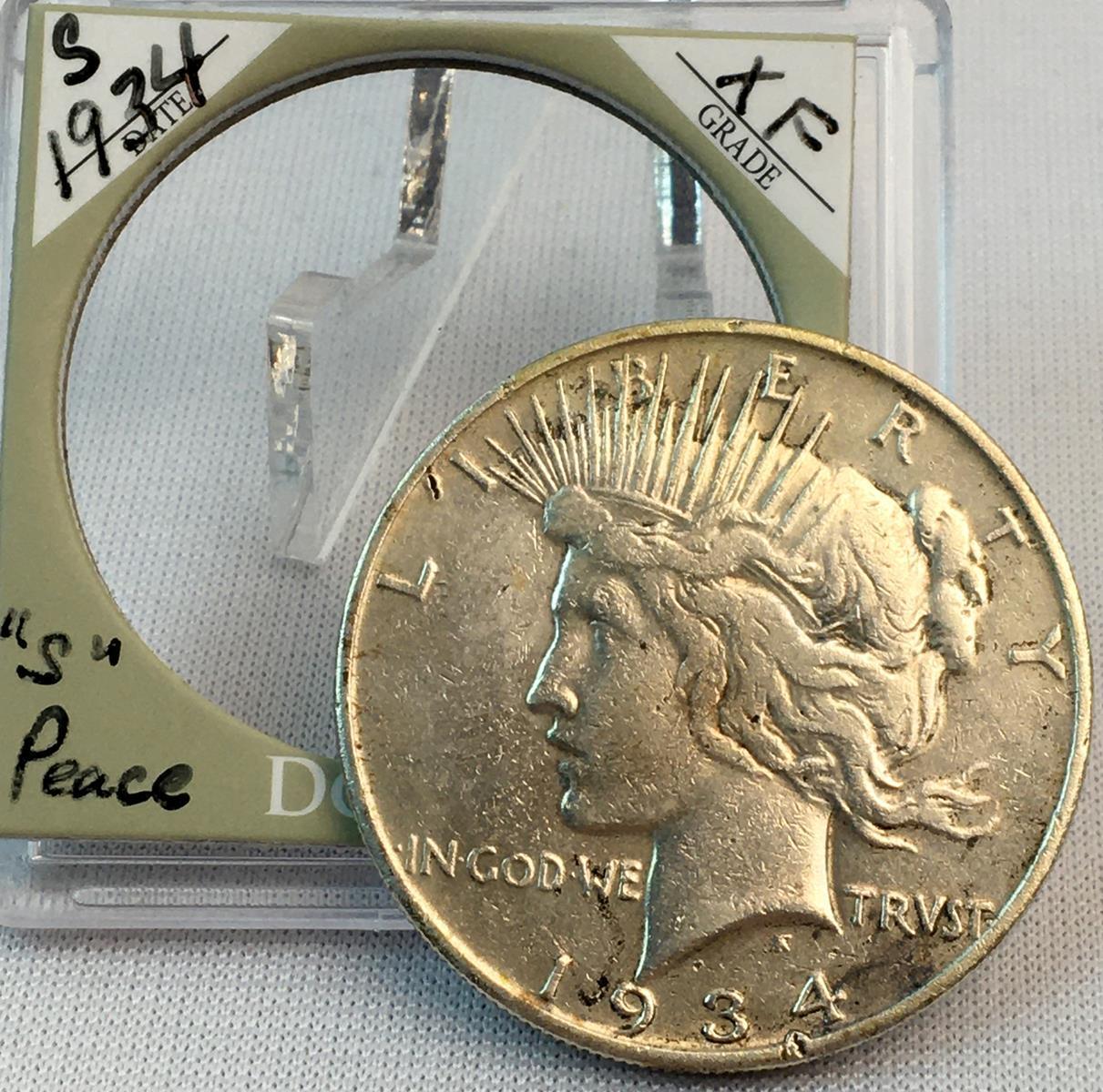 1934-S US $1 Peace Silver Dollar w/ Case KEY DATE