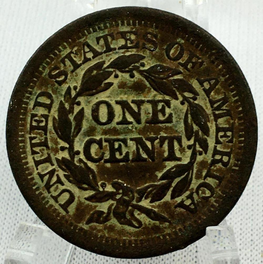 1852 US 1c Braided Hair Liberty Head Large Cent (Normal Date) AU