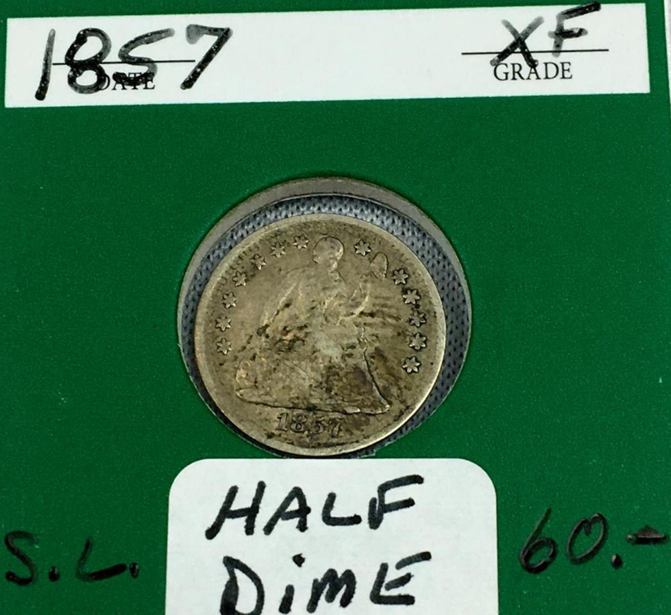 1857 US 5c Seated Liberty Silver Half Dime W/ Case