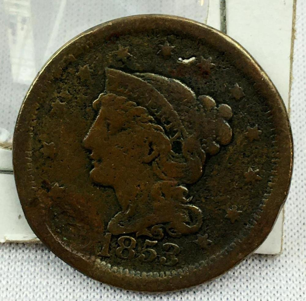 1853 US 1c Braided Hair Liberty Head Large Cent XF