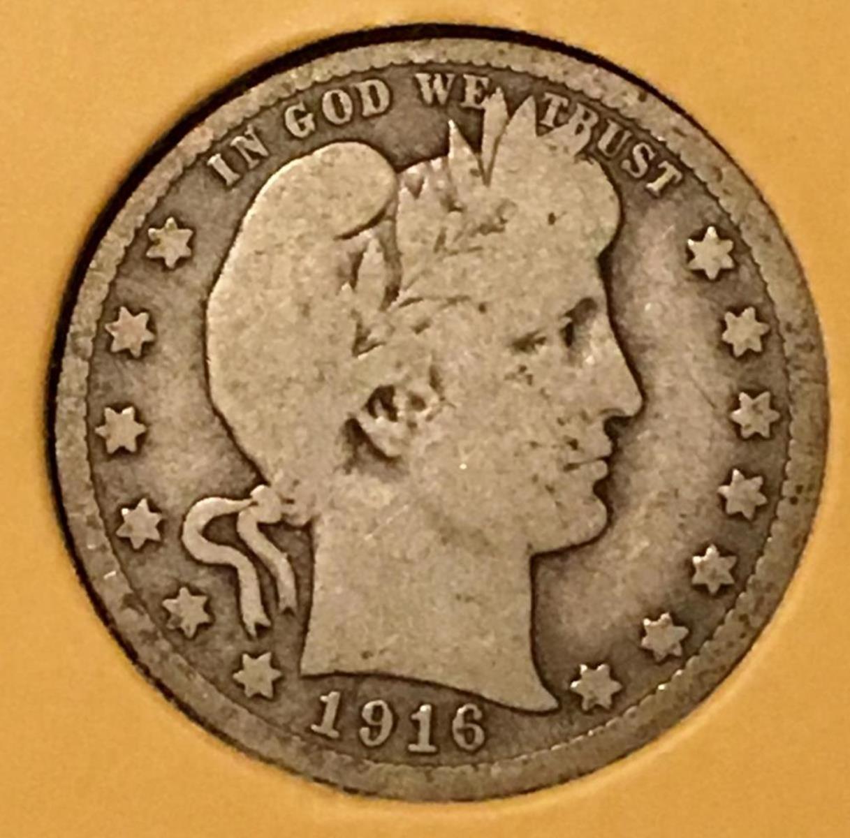 1916-D US 25c Barber Silver Quarter Dollar W/ Case