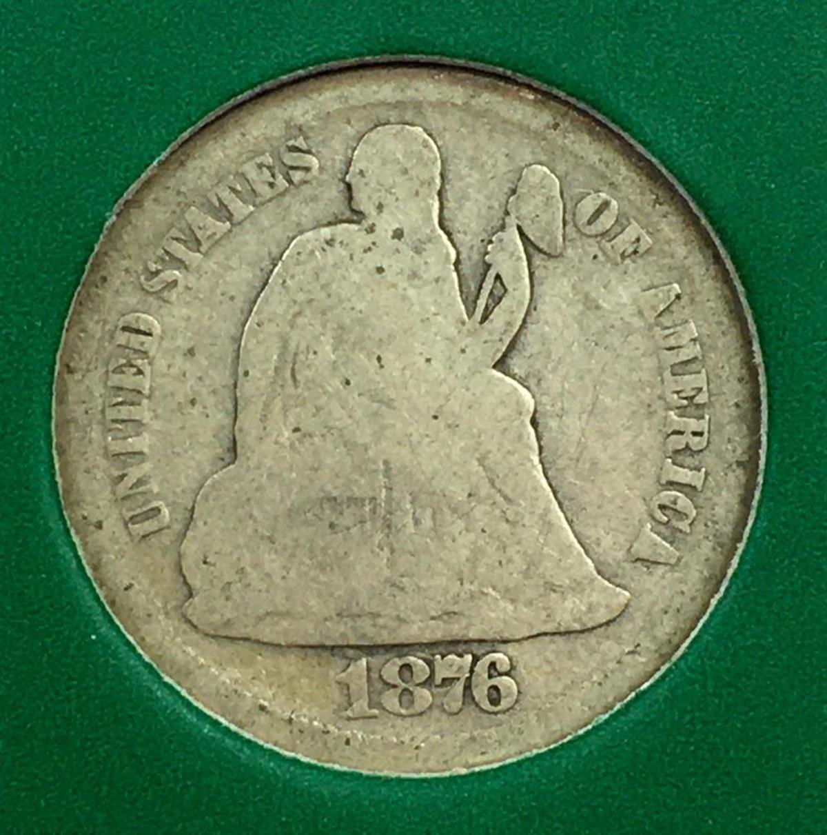 1876-S US 10c Seated Liberty Silver Dime W/ Case