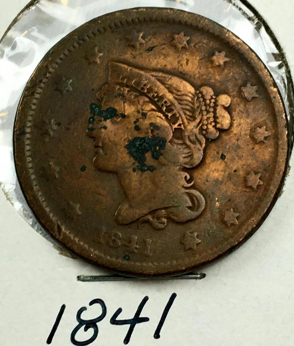 1841 US 1c Braided Hair Liberty Head Large Cent (Small Date)