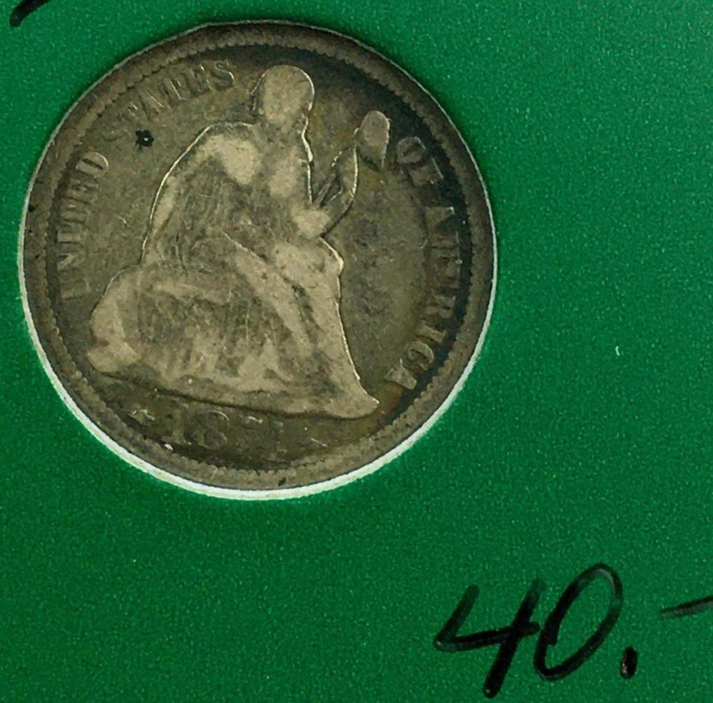 1874 US 10c Seated Liberty Silver Dime W/ Case ARROWS