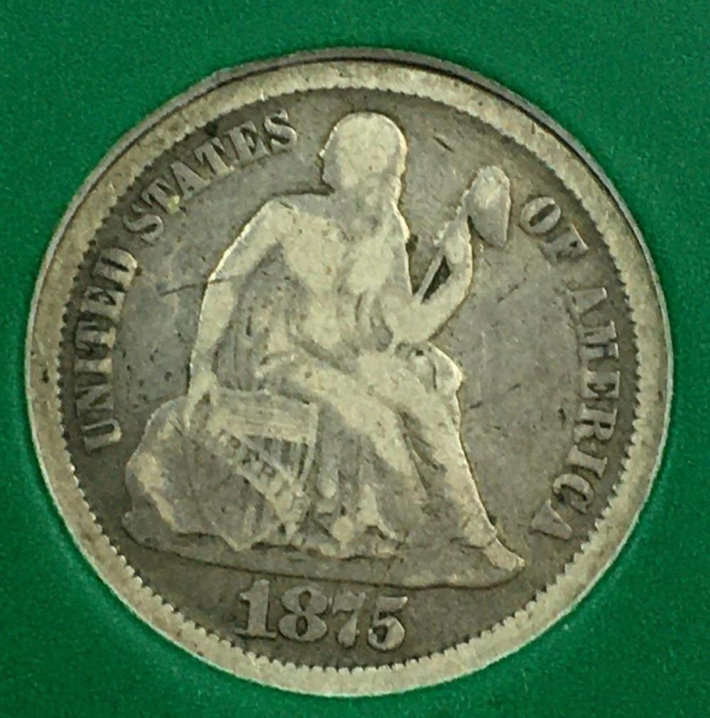 1875 US 10c Seated Liberty Silver Dime W/ Case