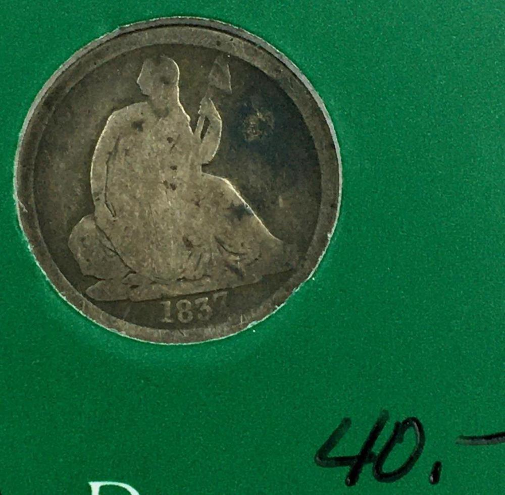 1837 US 10c Seated Liberty Silver Dime W/ Case