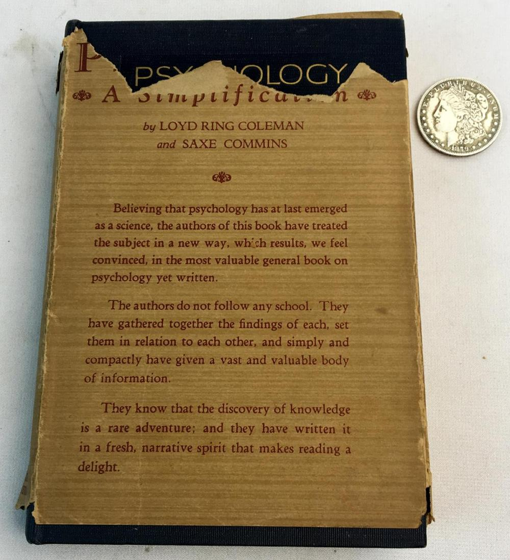 1927 Psychology: A Simplification by Lloyd Ring Coleman & Saxe Commins w/ Dust Jacket FIRST EDITION
