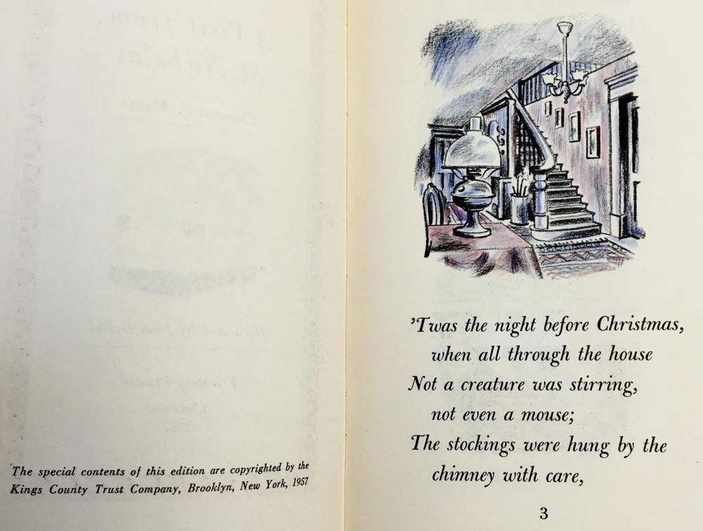 1957 A Visit From St. Nicholas by Clement C. Moore ILLUSTRATED