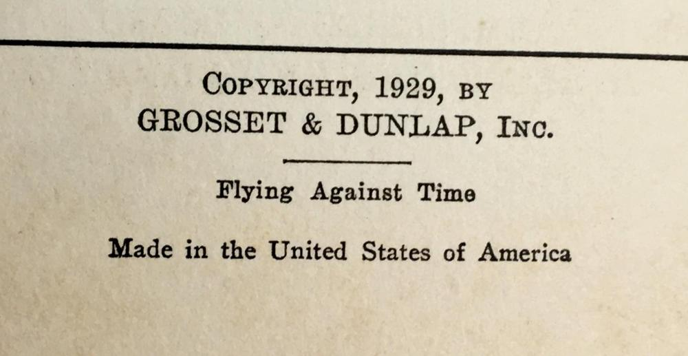 1929 Flying Against Time or Ted Scott Breaking The Ocean to Ocean Record by Franklin W. Dixon FIRST EDITION