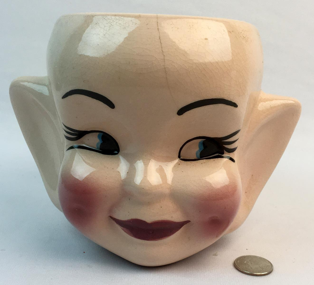 RARE Vintage Lefton Elf Pixie Head HUGE Ears Cookie Jar