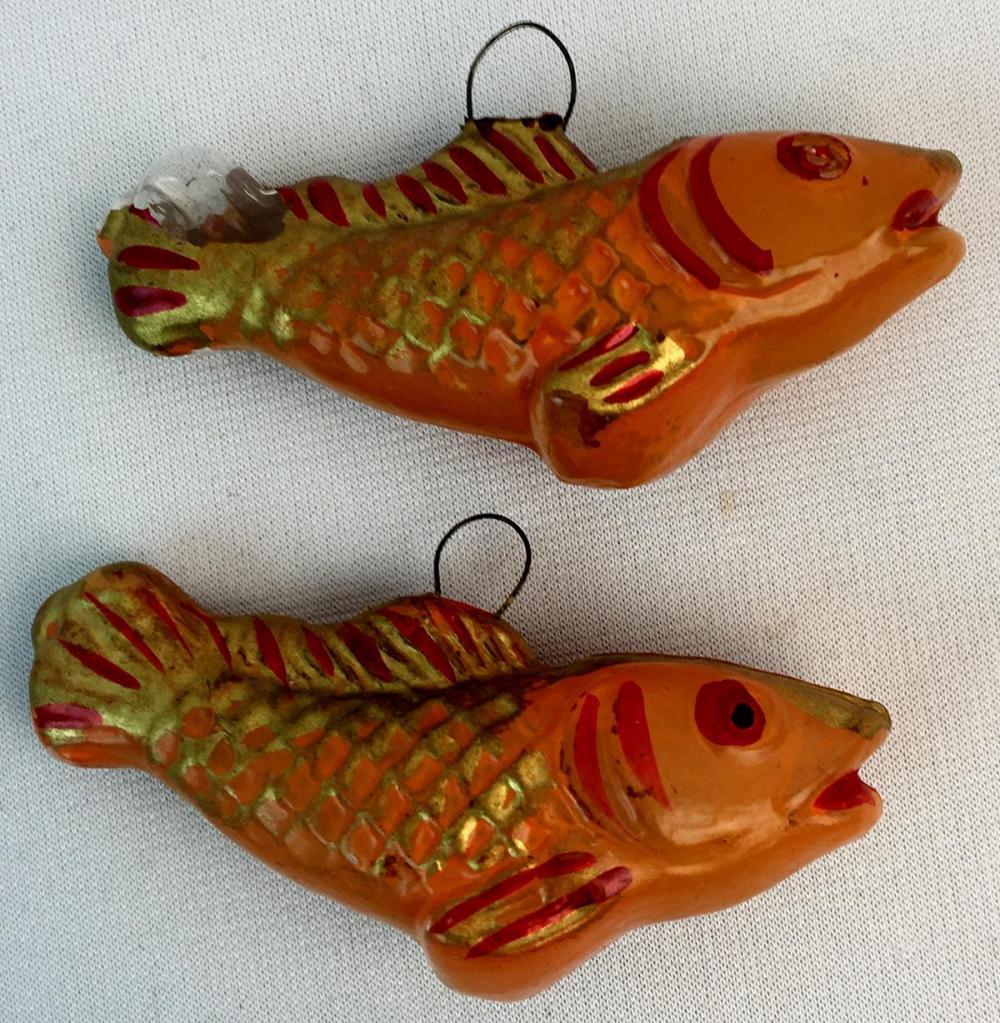 Vintage Lot of 2 Fish Figural Mercury Glass Hand Blown Ornaments