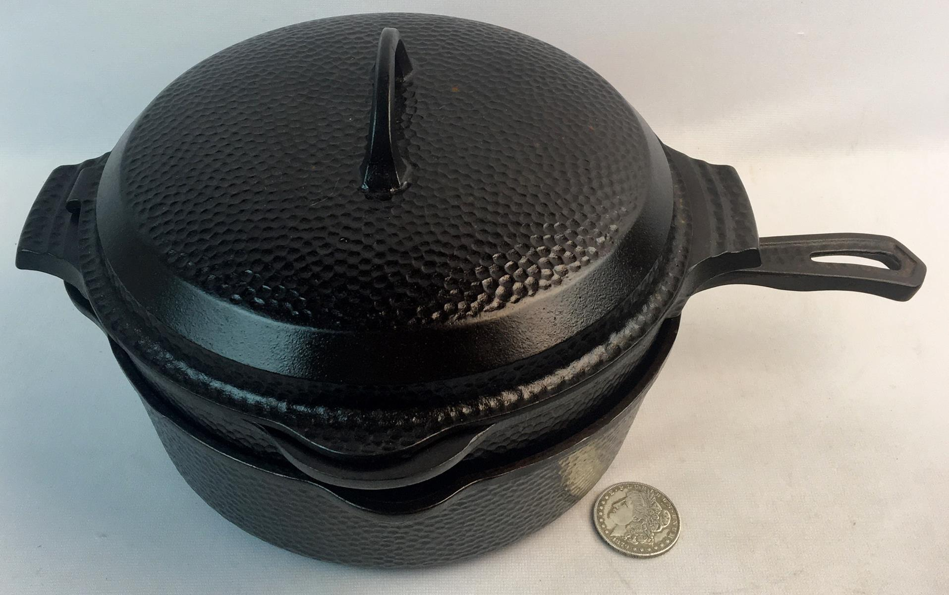 VERY RARE Antique Griswold No. 2058 Hinged Hammered Dutch Oven and Fryer Set w/ Trivet