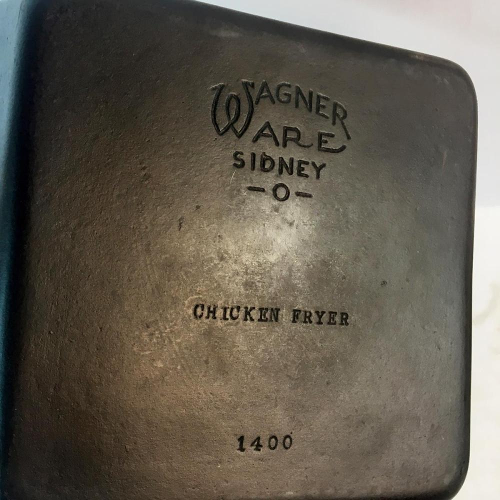 RARE Antique Wagner Ware Sydney O Cast Iron Square Chicken Fryer Skillet No. 1400 w/ Matching Lid