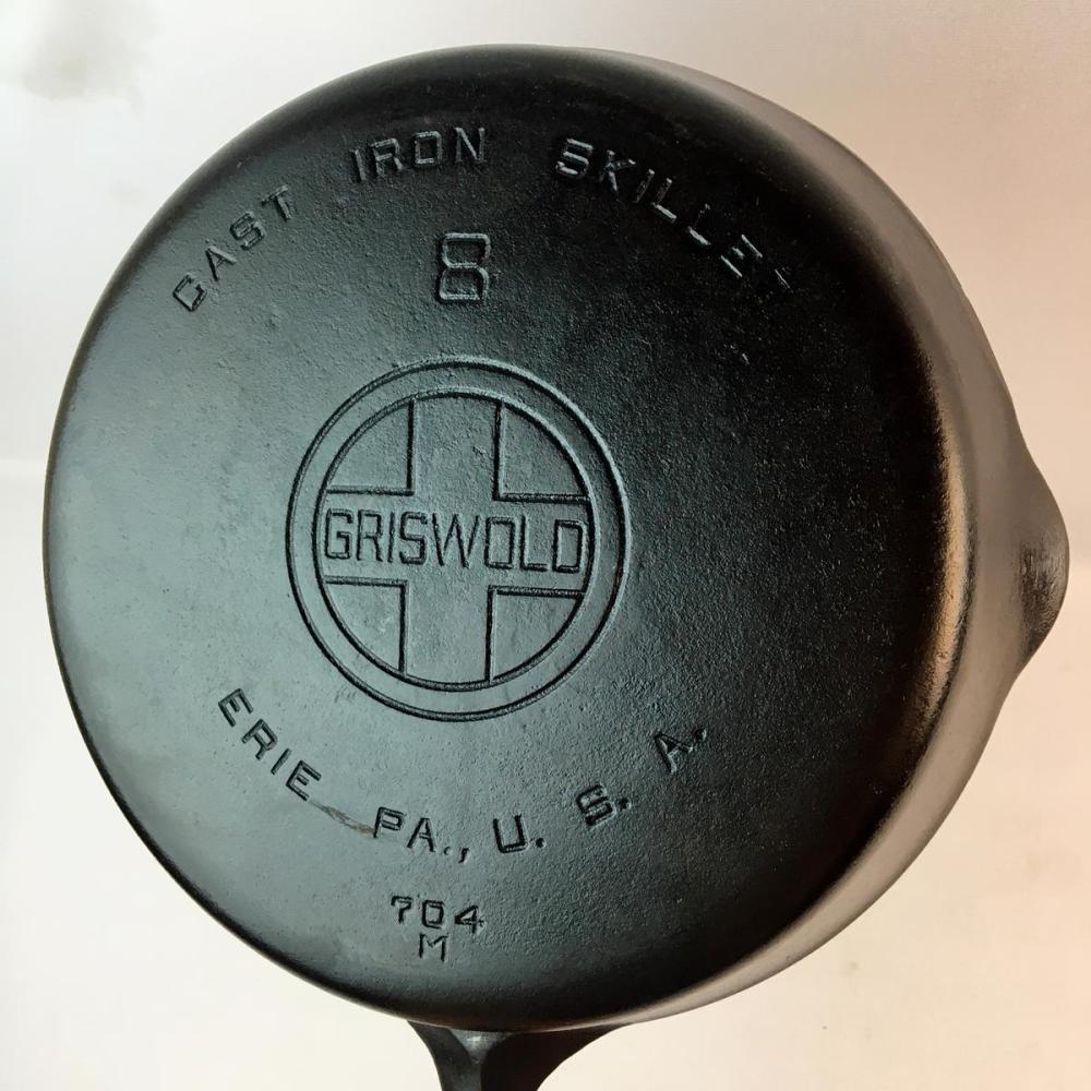 Vintage Griswold Erie No. 8 Cast Iron Skillet 704 M w/ Large Block Logo