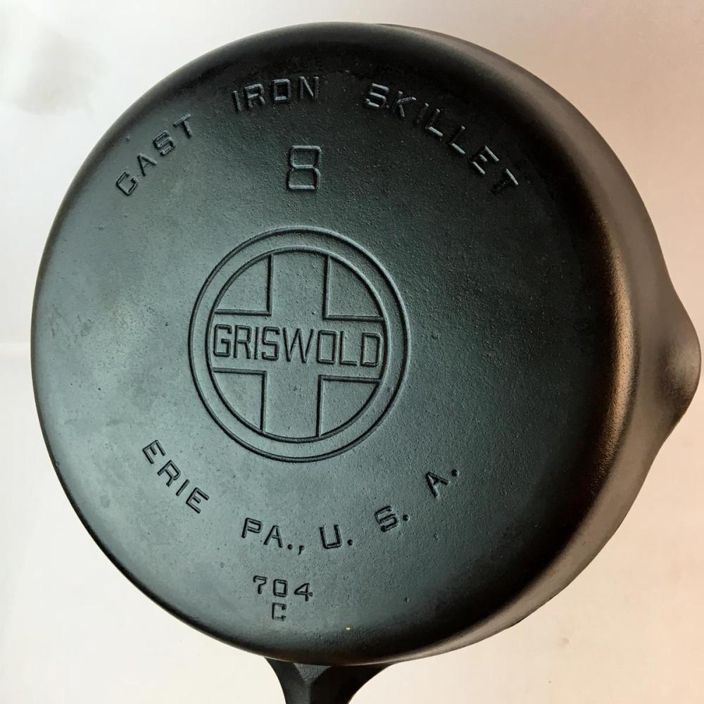 Vintage Griswold Erie No. 8 Cast Iron Skillet 704 C w/ Large Block Logo