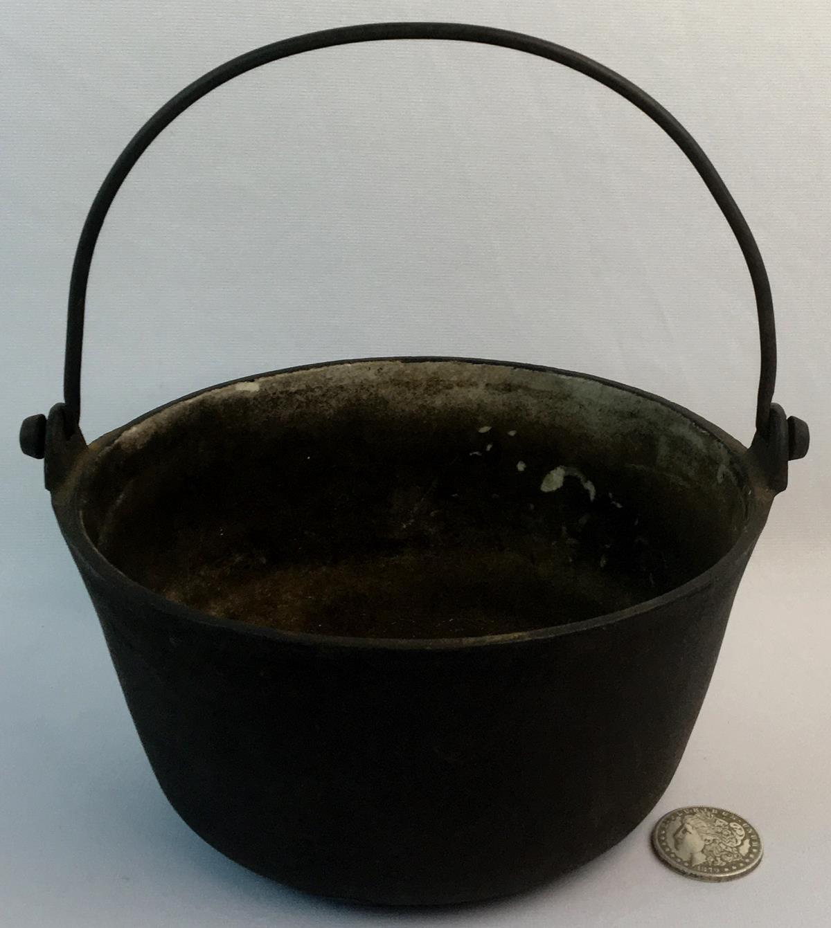 Antique c. 1840 T & C. Clark Co. Ltd. No. 7 Cast Iron Enameled Hanging Bowl / Pot 7 Pints