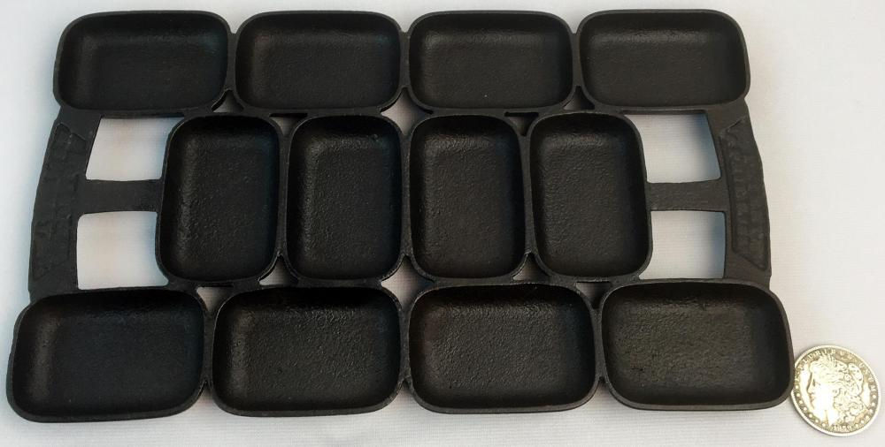 Antique 1859 Waterman / Boston Cast Iron Gem Rectangular Curved Biscuit Pan w/ 12 Forms