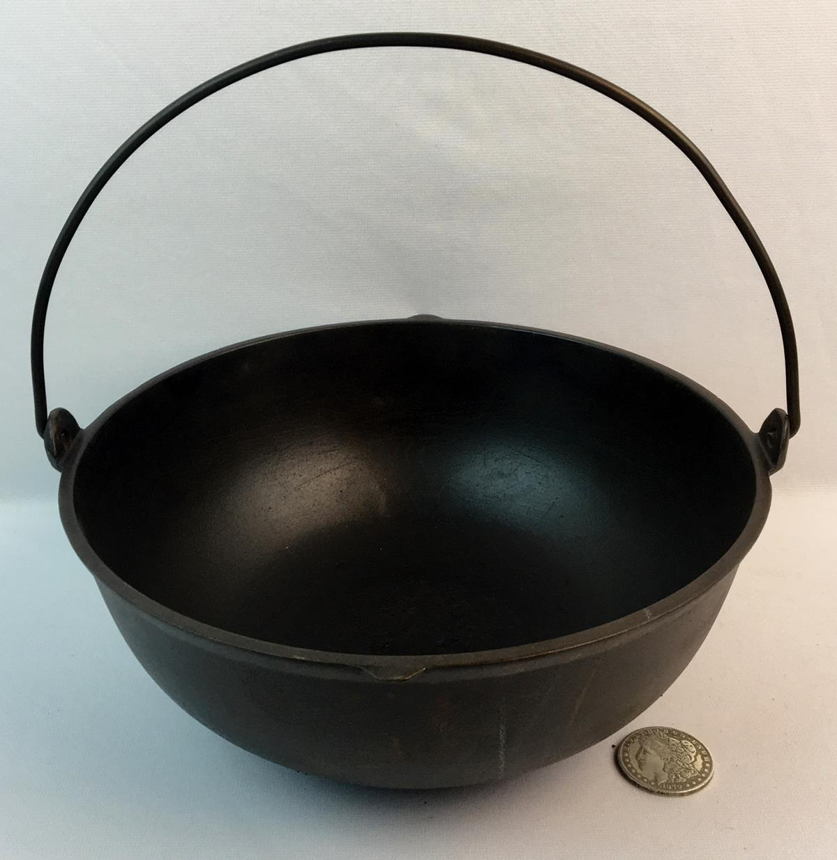 Antique 1800's Cast Iron Scotch Bowl w/ Raised 4 and Bail Handle