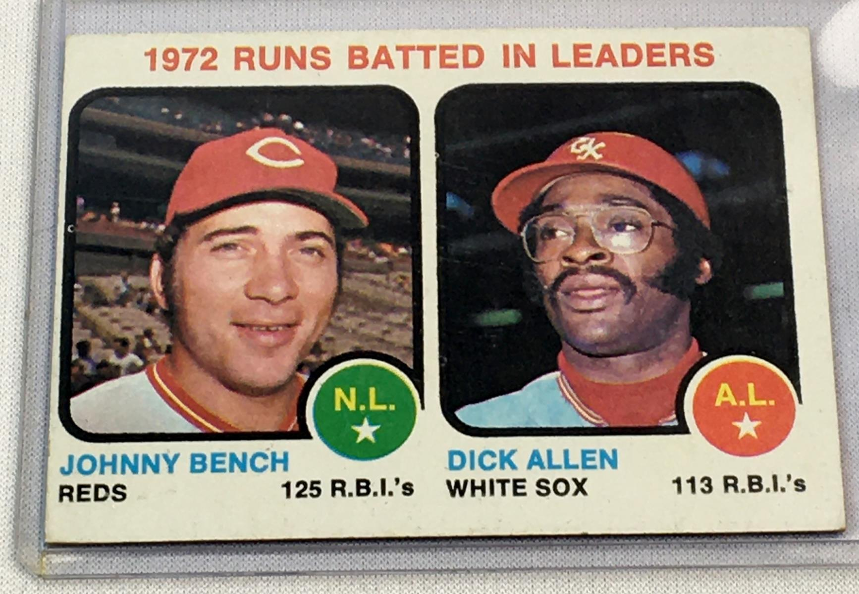 1973 Topps Set Break #63 Runs Batted In Leaders (Johnny Bench and Dick Allen) Card