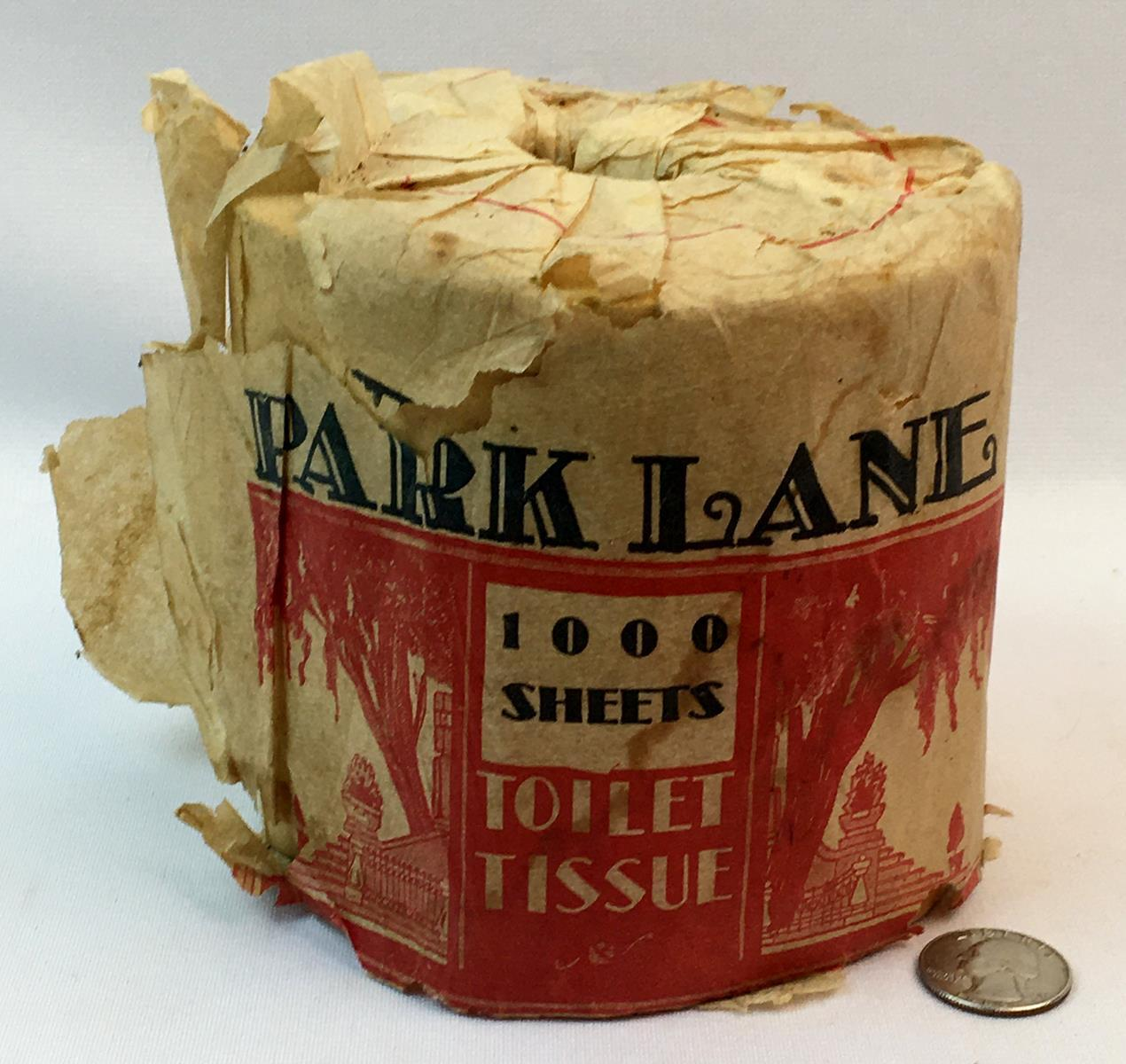 RARE Vintage c. 1920 Roll of Park Lane 1000 Sheets Toilet Tissue w/ Wrapping