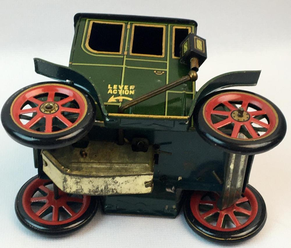 Vintage 1950's TM Modern Toys Japan Oldtimer No. 4 Lever Action Tin Friction Antique Car w/ Box