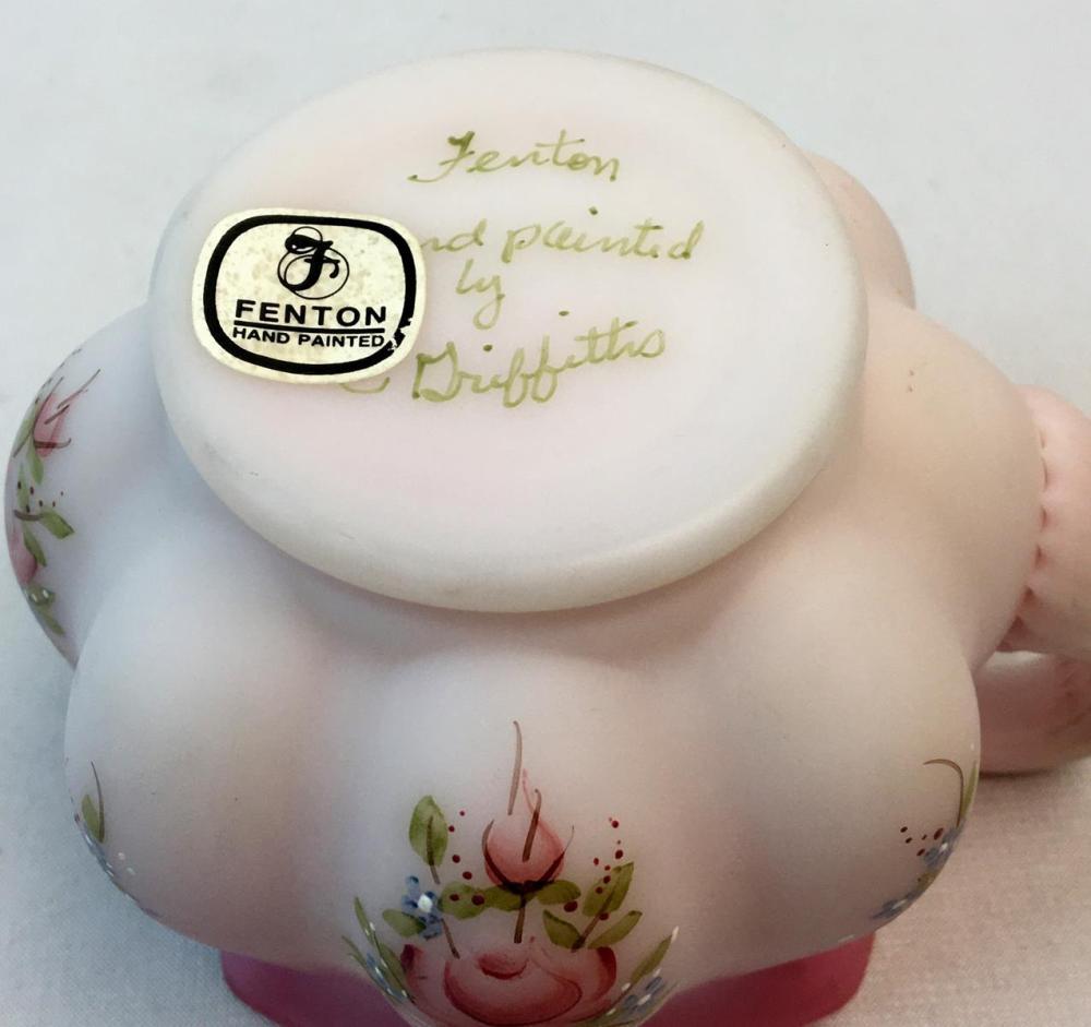 Vintage Fenton Pink Satin Rosalene Creamer Roses Hand Painted Artist Signed D. Griffiths