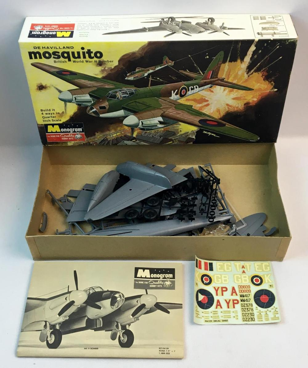 Vintage 1965 De Havilland Mosquito British WWII Bomber Monogram Model Kit UNBUILT