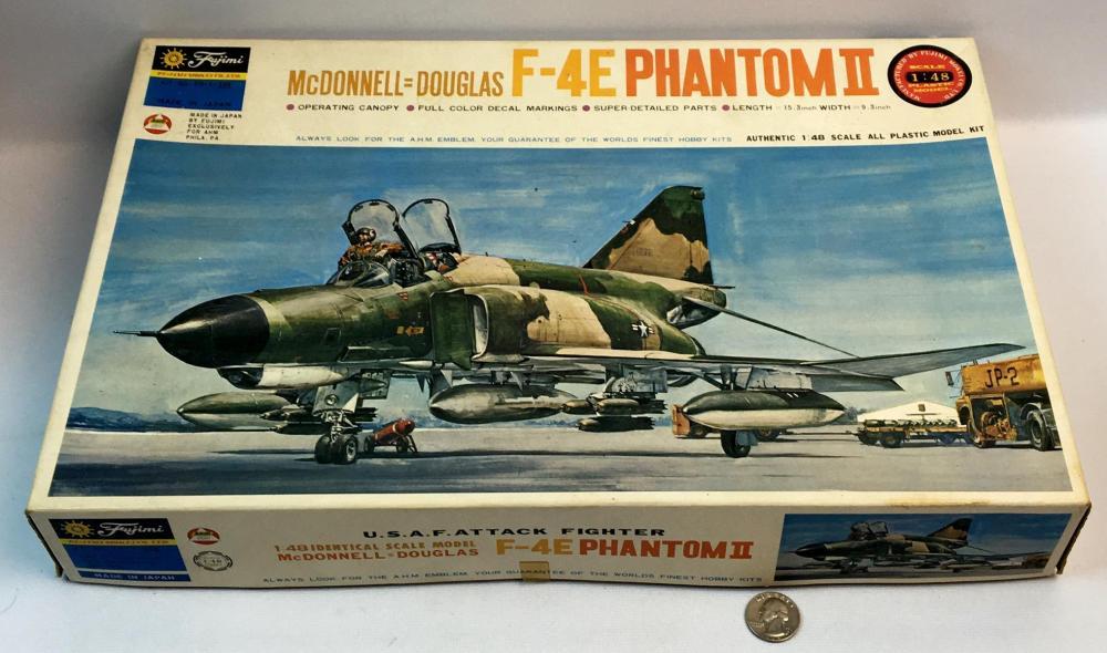 Vintage 1970's McDonnell Douglas F-4E Phantom II U.S.A.F. Attack Fighter 1/48 Scale Fujimi AHM Model Kit UNBUILT
