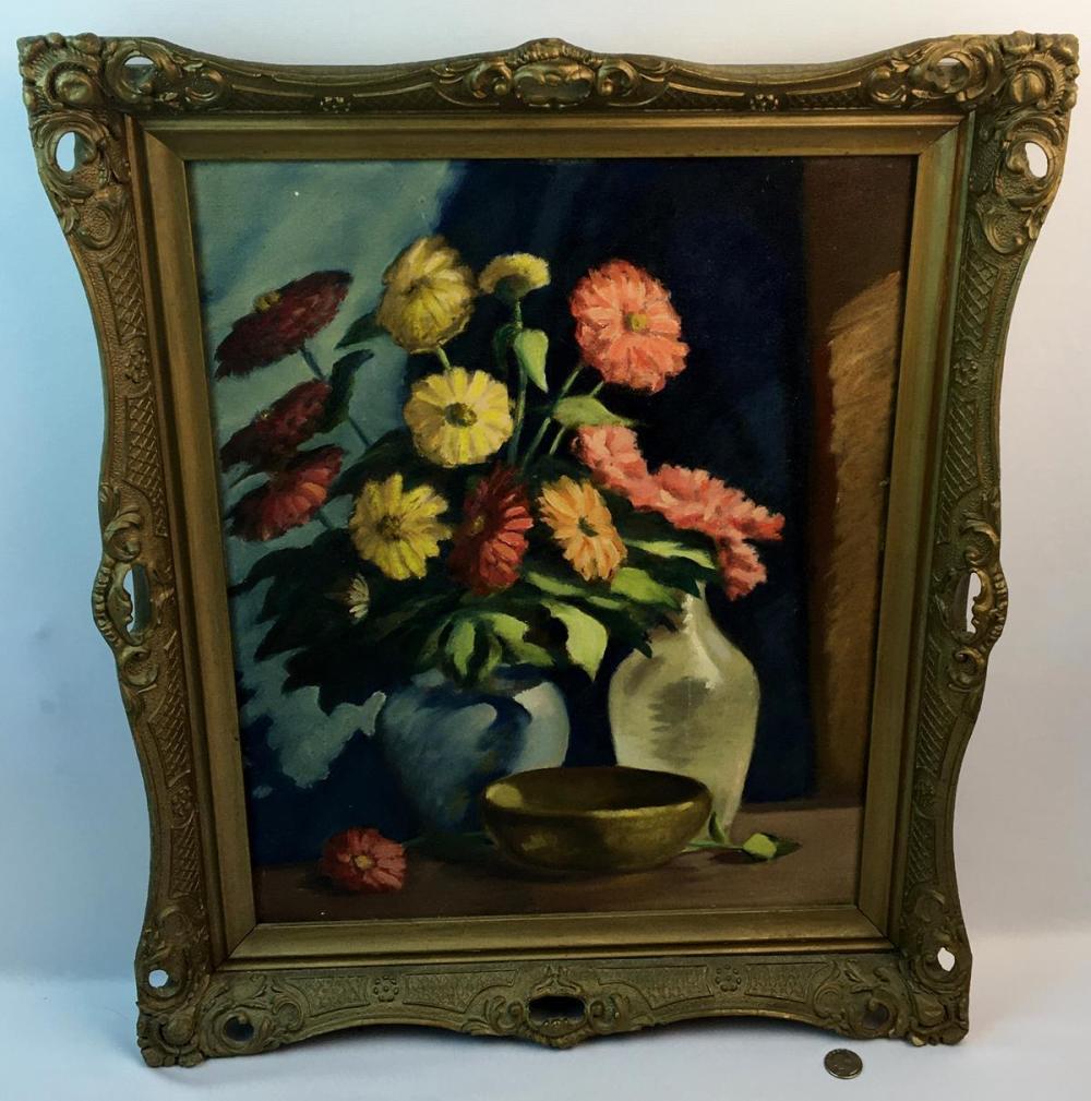 """Harold B. Slingerland (American, b.1898, d.1985) """"Zinnias"""" Still Life Oil on Board Painting FRAMED 1945"""