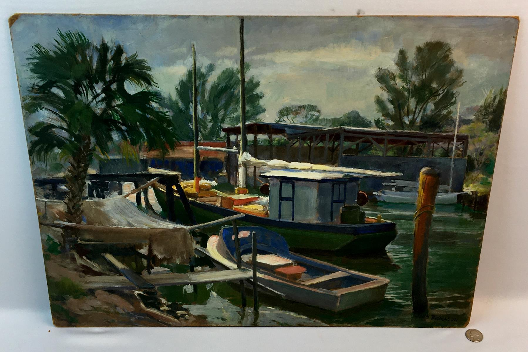 "John Thomason (American, b.1903, d.1985) ""Evening on Salt Creek"" Florida Oil on Board Painting c. 1960"