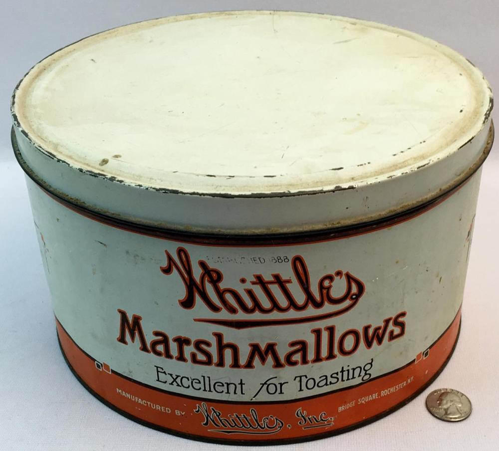Vintage 1920's Whittle's Marshmallow 5lb Advertising Canister Tin Rochester, NY