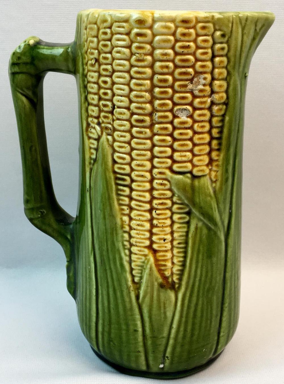 Antique McCoy No. 51 Majolica Corn Pitcher 8.75