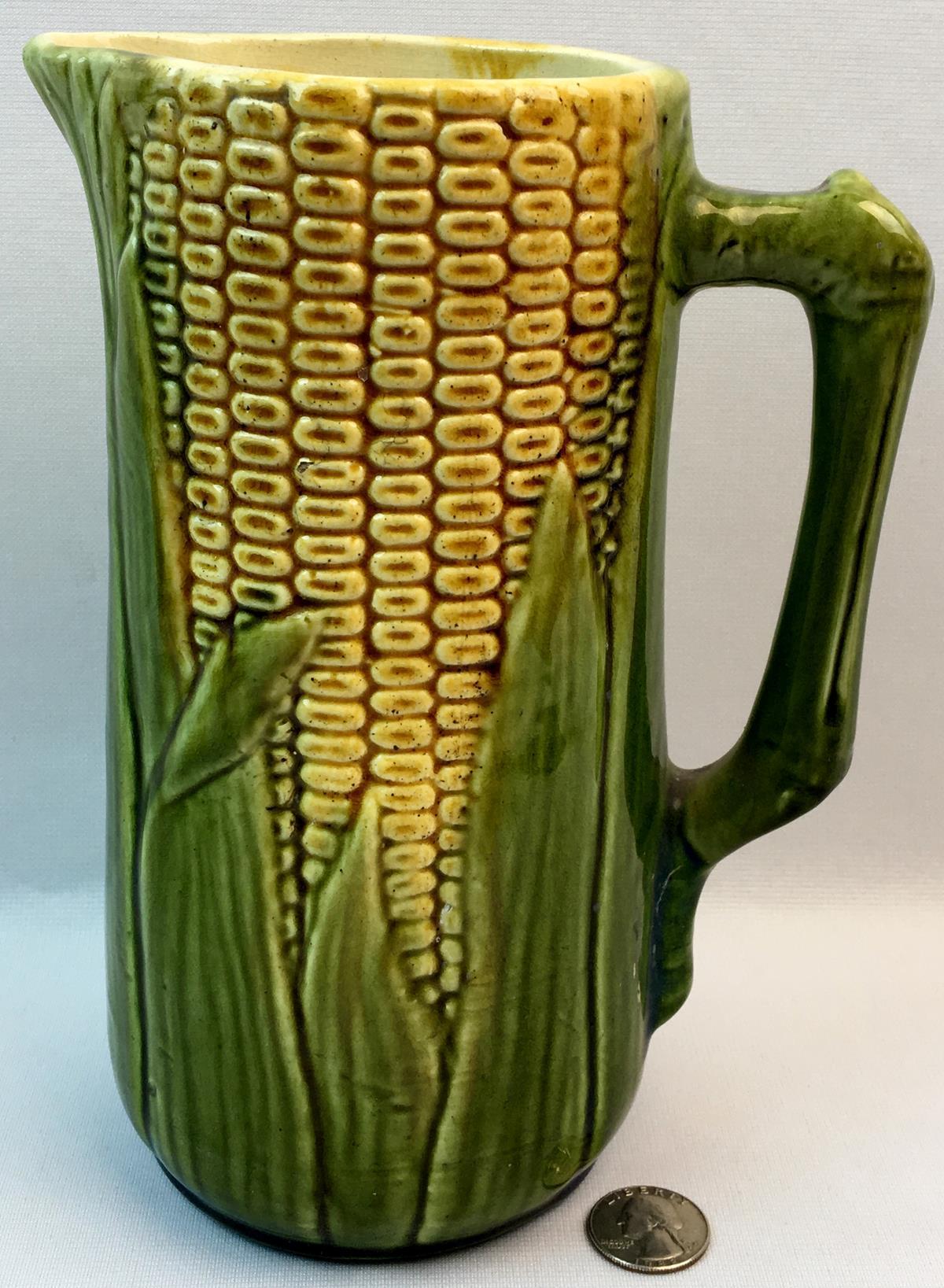 """Antique McCoy No. 51 Majolica Corn Pitcher 8.75"""" tall"""