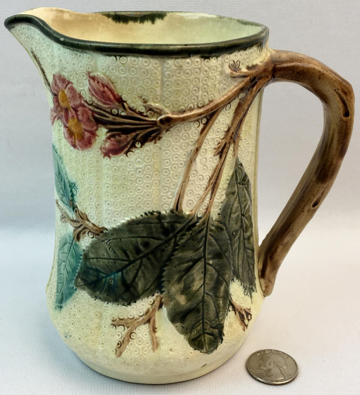 Antique 19th Century English Majolica Pitcher w/ Tree Branch Handle, Leaves and Pink Flowers