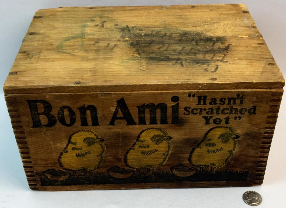 Antique Bon Ami Advertising Finger Jointed Wooden Crate w/ Yellow Chic's
