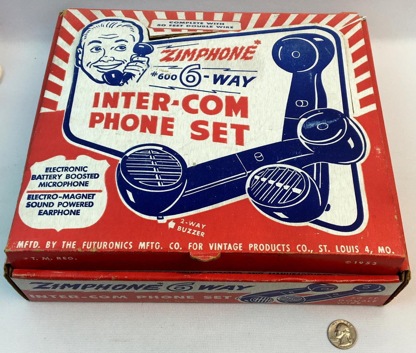 Vintage 1960's Zimphone 6 Way Toy Inter-Com Phone Set w/ Original Box